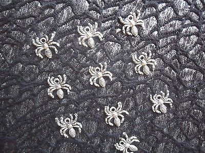 Bulk Lot 10 Tibetan Silver Plated Spider Pendants Or Charms