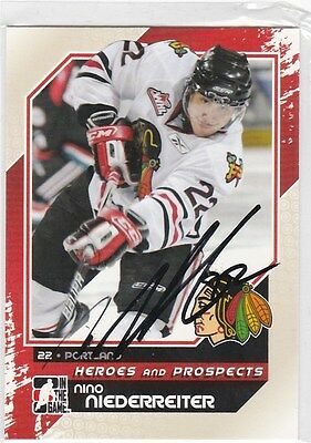Autographed Heroes & Prospects Hockey Card Nino Niederreiter