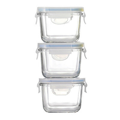 NEW Glasslock Baby Food Square Container Set 3pce