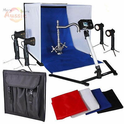 Photo Studio 50cm Cube Light Tent Photography Softbox Lighting 4 Backdrops Kit