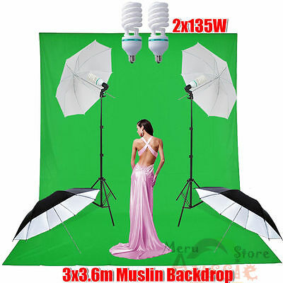 1350W Photo Studio Soft Umbrella Lighting Light Green MUSLIN Backdrop Stand Kit