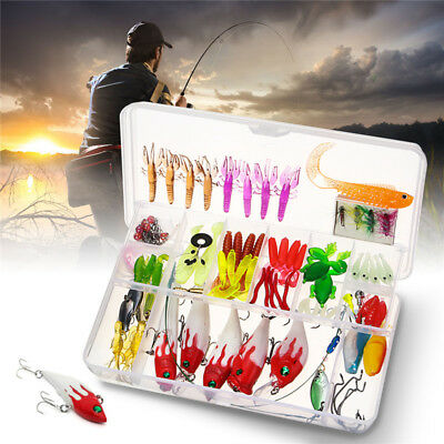 100 Fishing Lures Spinners Plugs Spoons Soft Bait Pike Trout Salmon+Box Set Hot