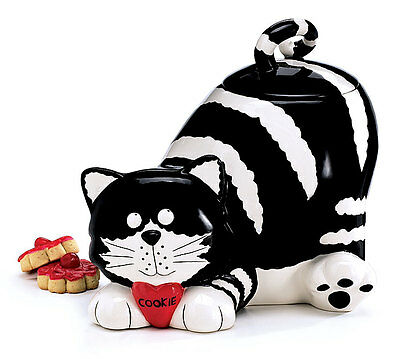 """Chester The Cat Cookie Jar Black With White Stripes Cat Lover Gift 8.5"""" High"""