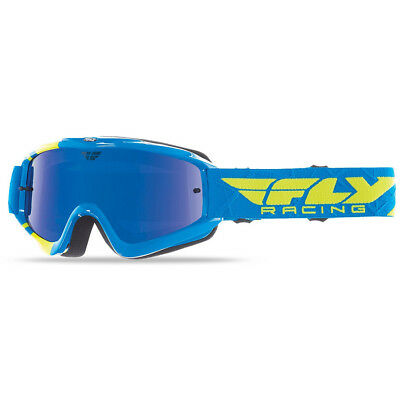 NEW Fly Racing MX Youth Zone Blue Hi-Vis Chrome Tinted Kids Motocross Goggles