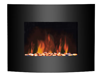 1.8KW Wall Mounted Electric Fireplace Black Curved Glass Heater LED Flame Effect
