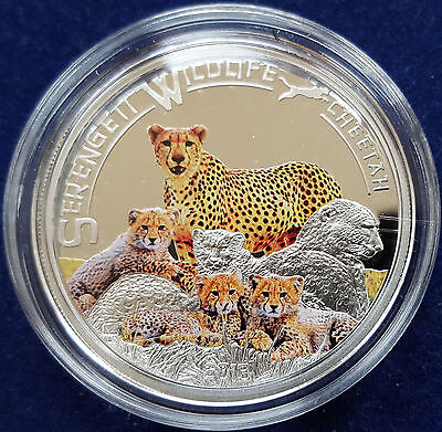 "Mds Tanzania 1000 Shillings 2013 Proof ""cheetah"", Silver + Partially Coloured"