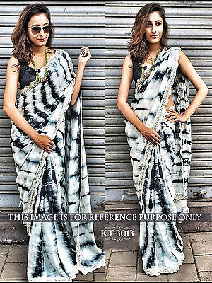 Wyoming White And Black Moss Silk Embroidery Work Party Wear Saree KT3013