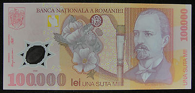 Romania Polymer Plastic Banknote 100.000 Lei 2001 UNC