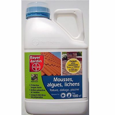 Anti mousse dallage, toiture, court de tennis, piscine ... Bayer 5L pour 1000m²