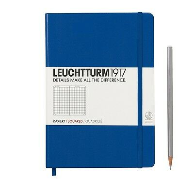 Leuchtturm 1917 A5 Hard Cover Notebook - Royal Blue. Squared
