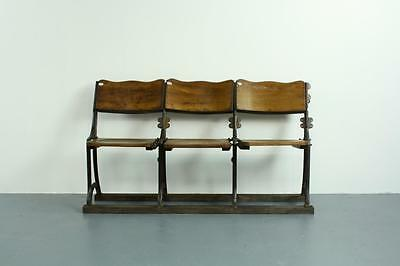 VINTAGE FOLDING VICTORIAN / EDWARDIAN THEATRE SEATS BENCH CHAIRS #1568b