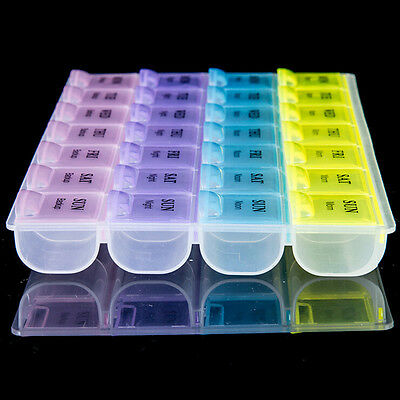 Weekly 28Day Tablet Pill Box Holder Medicine Storage Organizer Case Containers L