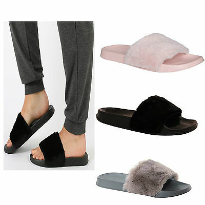 Womens Ladies Slip On Sliders Fur Slipper Rihanna Rubber Mule Sandals Shoes Size