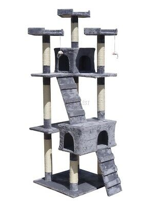Cat Tree Scratch Scratcher Scratching Post Sisal Toy Activity Centre Grey 608