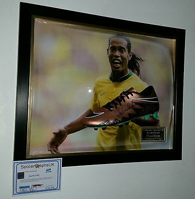** RONALDINHO of BRAZIL Signed Football Boot Autograph Display ***