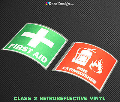 REFLECTIVE FIRE EXTINGUISHER & FIRST AID Sticker OH&S Sign Safety Decals