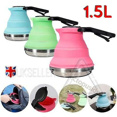 1.5 L Collapsible Folding Kettle Silicone Camping Backpacking Space Saving Uk
