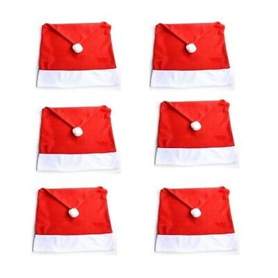 6 Pack Santa Hat Chair Covers Christmas Dining Room Xmas Table Decoration