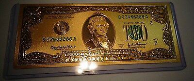 24K 99.9/% Gold Plated $100 Bank Note w//Certificate//Paperweight Nice Gift Item