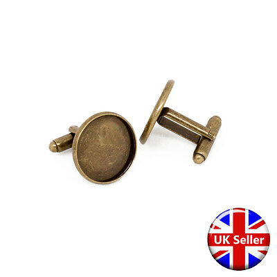 20mm Antique Bronze Cufflink Setting Blanks Fits 18mm Cabochon [20 pieces]