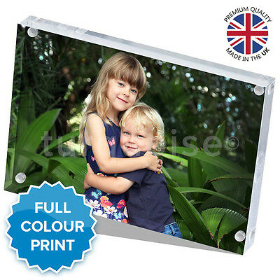 """Personalised Acrylic Photo Block Picture Frame Gift Vision Blox   8 x 6"""" Inch"""