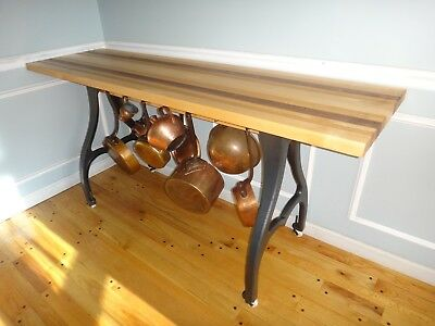 Narrow Butcher Block Kitchen Island Prep Table Antique Cast Iron Industrial Legs