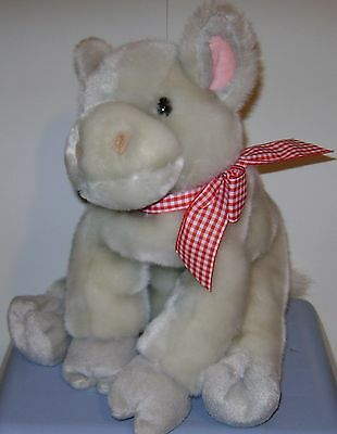 """Animal Alley Gray Cow Plush Red Check Bow 12"""""""