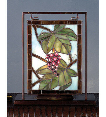 """Meyda 68352 10.5""""H Nappa Vintage Lighted Stained Glass Mini Tabletop Window"""