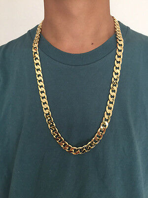"""30"""" L 12mm 18K Yellow Gold Plated Chain Necklace Men's Christmas Birthday Gift"""