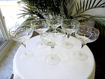 Set of 6 Eaton Collection Cut Crystal Clear Champagne Glasses