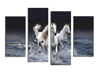 Modern Abstract Oil Painting Wall Decor Art Huge - White Water Running Horse 4pc