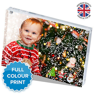 """Christmas Personalised Acrylic Photo Snow Block Picture Gift Present   6 x 4"""""""