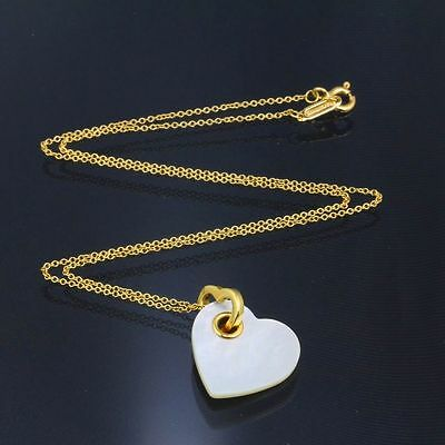 TIFFANY & Co. 18K Gold Mother of Pearl Heart Pendant Necklace