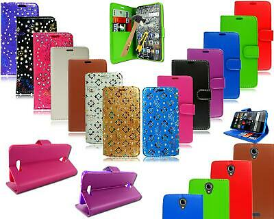 For Alcatel Pop 4 5051X New Leather Book Wallet Pouch Phone Case +Tempered Glass