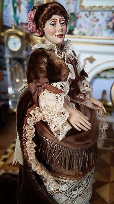 Miniature Dollhouse Artisan Susan Wade Victorian Older Lady Doll Signed 1:12