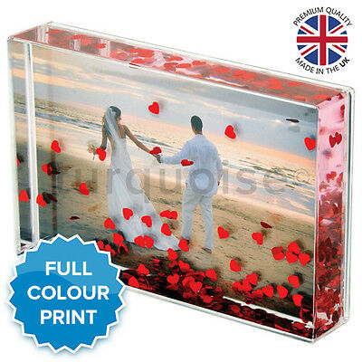 """Personalised Acrylic Photo Block Hearts Valentines Gift Present 