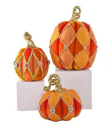 Katherine's Collection Set Of 3 Velvet Pumpkins NEW 28-628203 Thanksgiving
