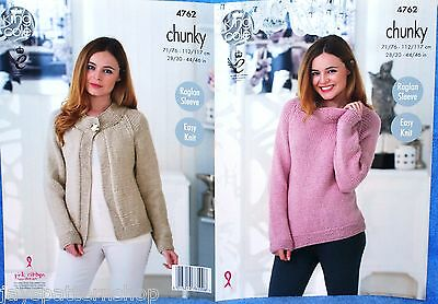 Ladies Chunky Knit Easy Sweater & Jacket Knitting Pattern 28 - 46 Inch