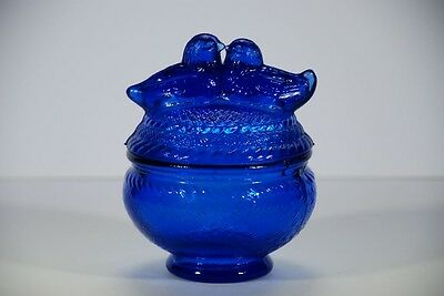 Vintage Aa Imports St. Louis Mo. Cobalt Blue Glass Love Birds Covered Candy Dish