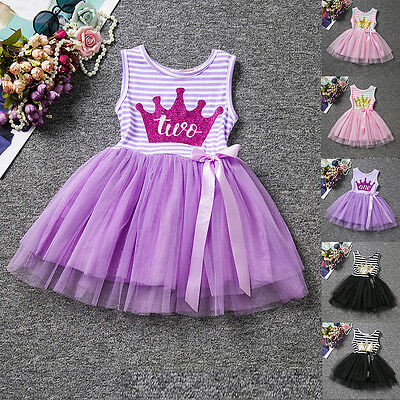 Crown Toddler Baby Girl Striped Tulle Dress Princess Birthday Party Kids Clothes