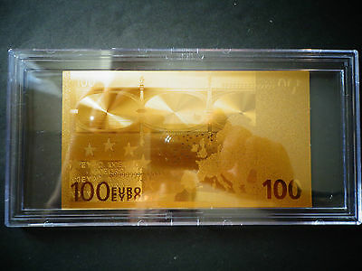 BILL COMES IN thick holder 24 KT GOLD 20 EURO € European Union MONEY 2002