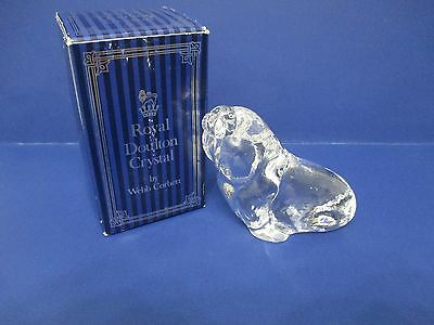 "Royal Doulton Crystal British Made Walrus Paperweight by Webb Corbett 4"" P30"
