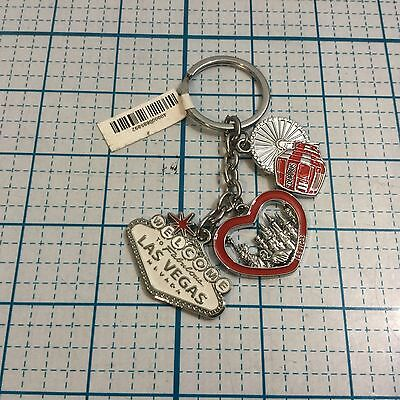 NWT LAS VEGAS Keychain Keychains With 3 Charms - Silver w/Red Accents