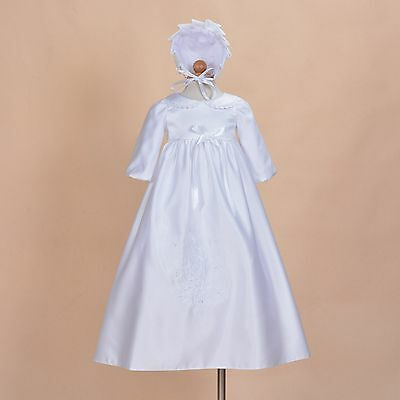 Baby Girl Ivory White Satin Long Sleeve Christening Gown Bonnet 0 3 6 9 12 Month