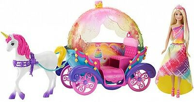 Barbie and Unicorn Carriage Dreamtopia Rainbow Cove Fairytale Playset