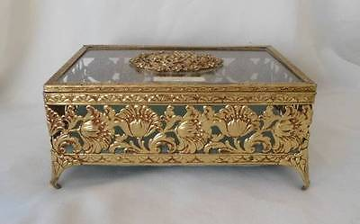 Vintage Jewelry Casket Box Gold Gilt Dogwood Flowers Poppies Hollywood Regency