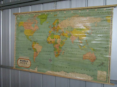 Vintage World Political Map, HUGE, Made in India, P/up Frankston Vic 147 x 90 cm