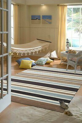 NEW Taupe Coloured Stripes Children's Rug