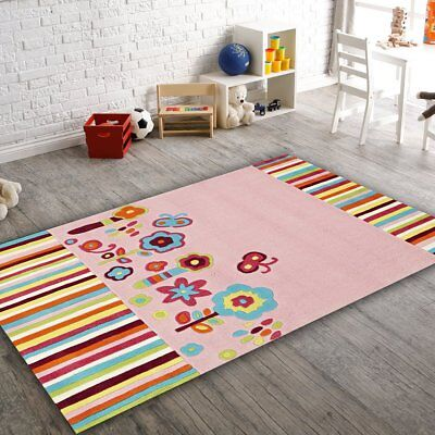 NEW Kids Floral Patterned Pink Rug