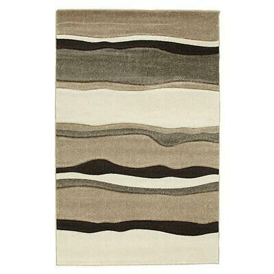 NEW Modern Thick Wave Rug Beige Brown
